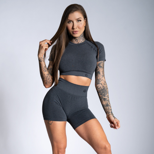 Gym Glamour - Amy Seamless Shorts (Black/Grey)