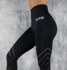 RapidWear - 7/8 Detailed Seamless Leggings (Black)