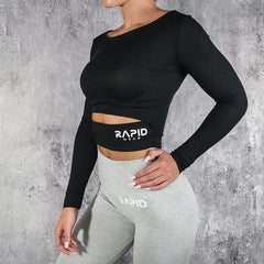 RapidWear - Long Sleeve Crop (Black)