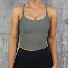 RapidWear - Open Back Crop Top (Khaki)