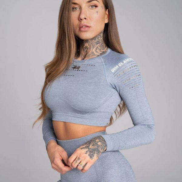 Gym Glamour - Alva Seamless Crop Top (Grey)