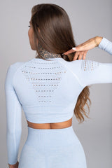 Gym Glamour - Alva Seamless Crop Top (Baby Blue)