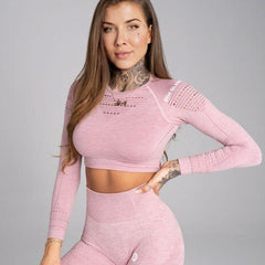 Gym Glamour - Alva  Seamless Crop Top (Baby Pink)