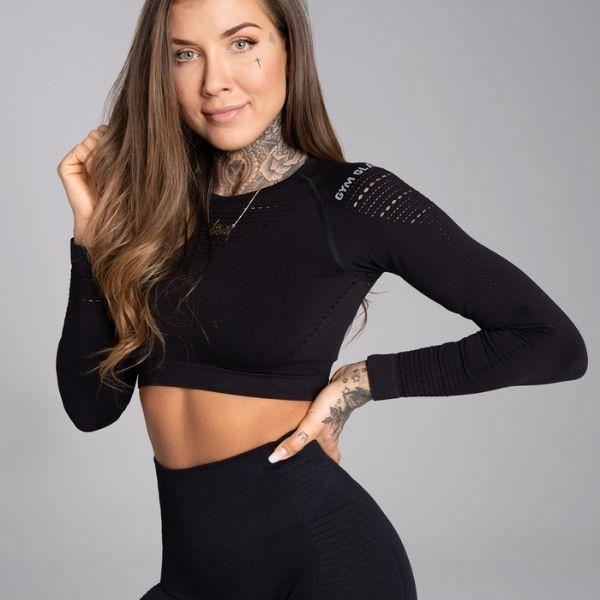 Gym Glamour - Alva Seamless Crop Top (Black)