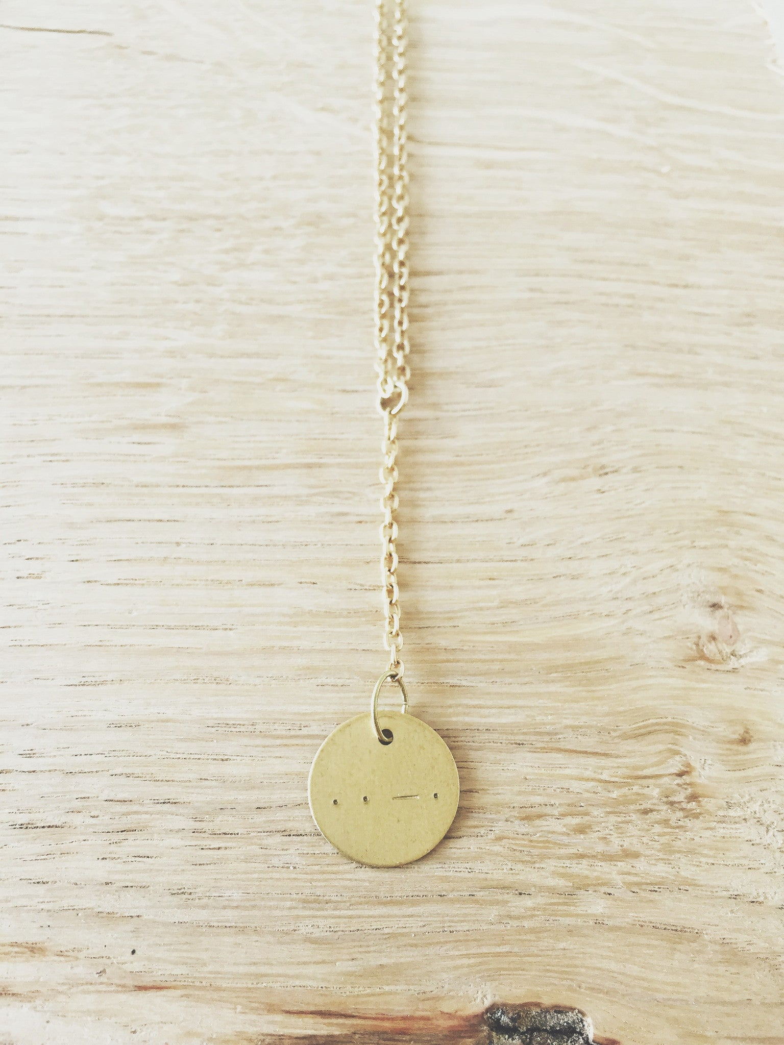 Morse Code Brass Necklace