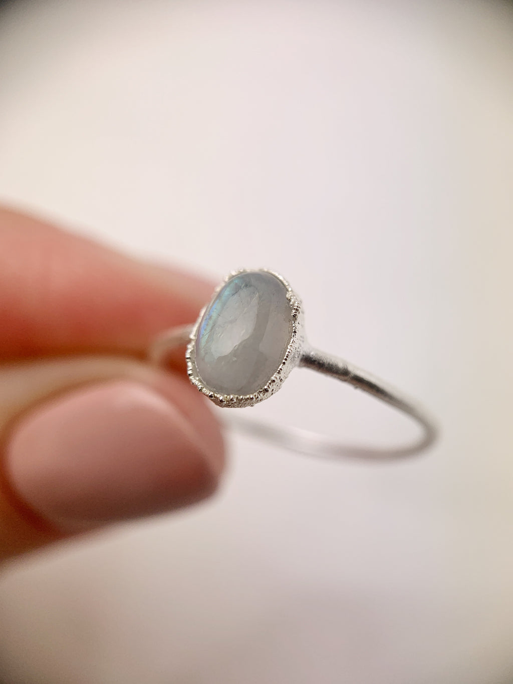 Silver Oval Moonstone Ring