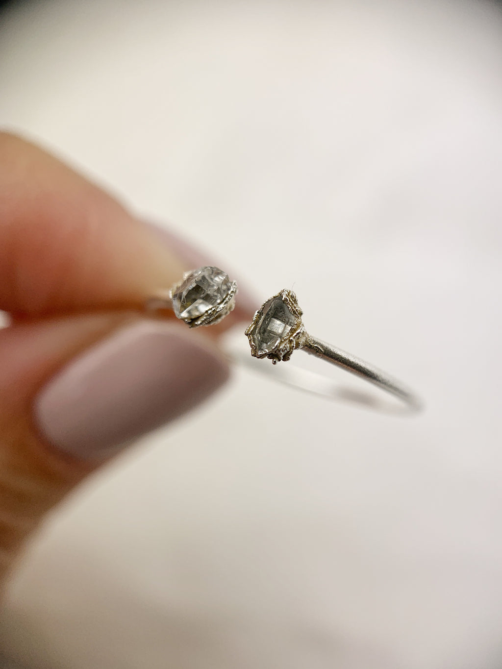 Silver Open Herkimer Diamond Ring