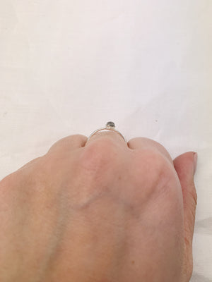 Silver Small Triangle Labradorite Ring
