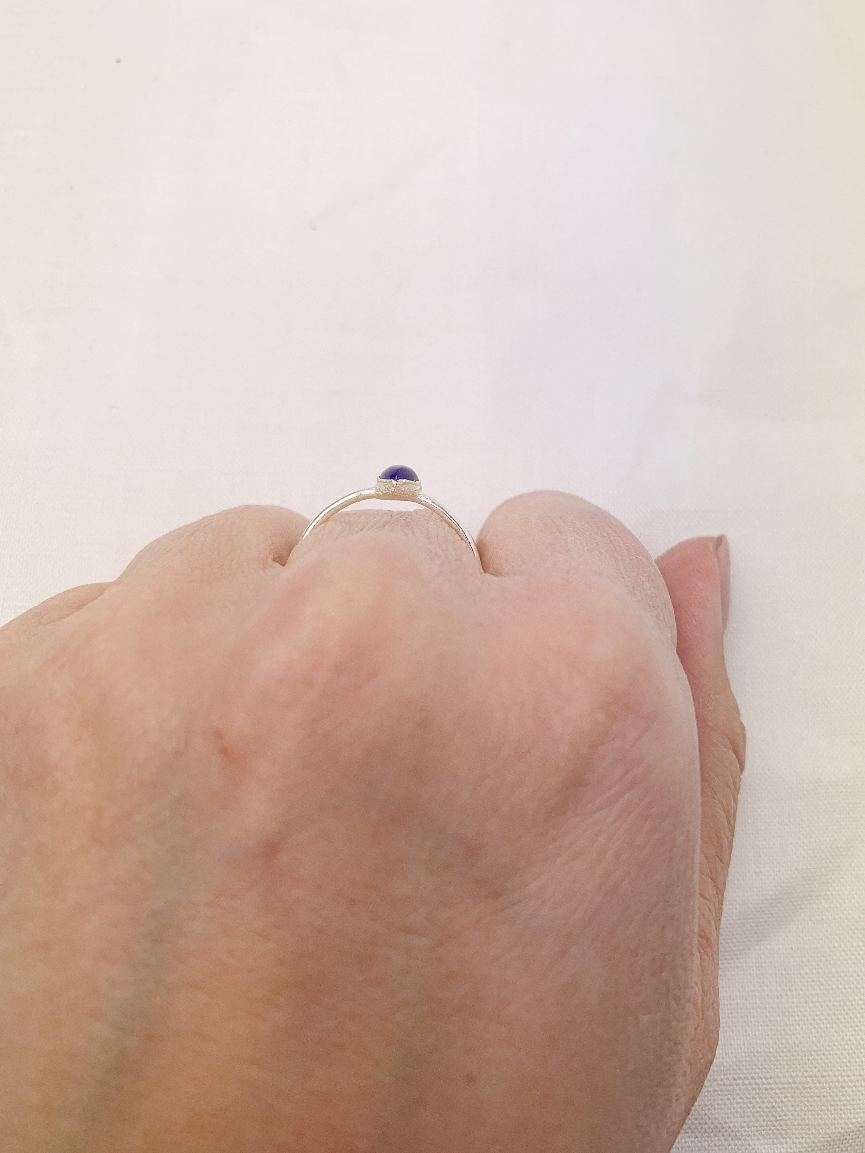 Silver Pear Lapis Ring