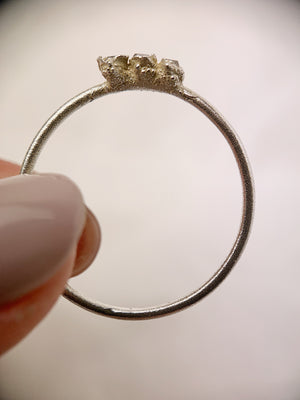 Silver Triple Herkimer Diamond Ring