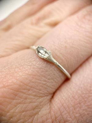Silver Horizontal Herkimer Diamond Ring