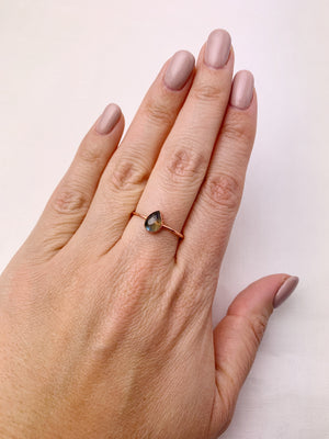 Pear Labradorite Ring