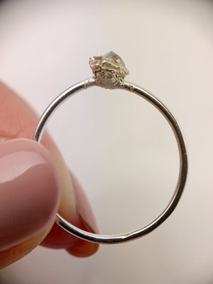 Silver Vertical Herkimer Diamond Ring