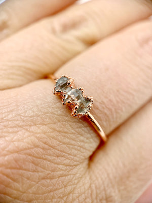 Triple Herkimer Diamond Ring