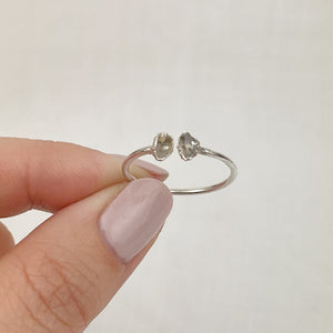 Herkimer Diamond Silver ring - size O1/2