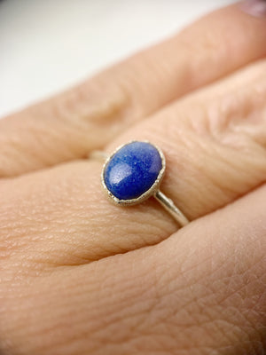 Silver Oval Lapis Ring