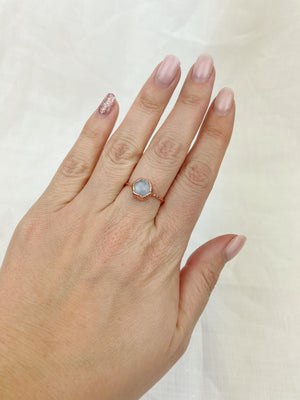 Hexagonal Moonstone Ring