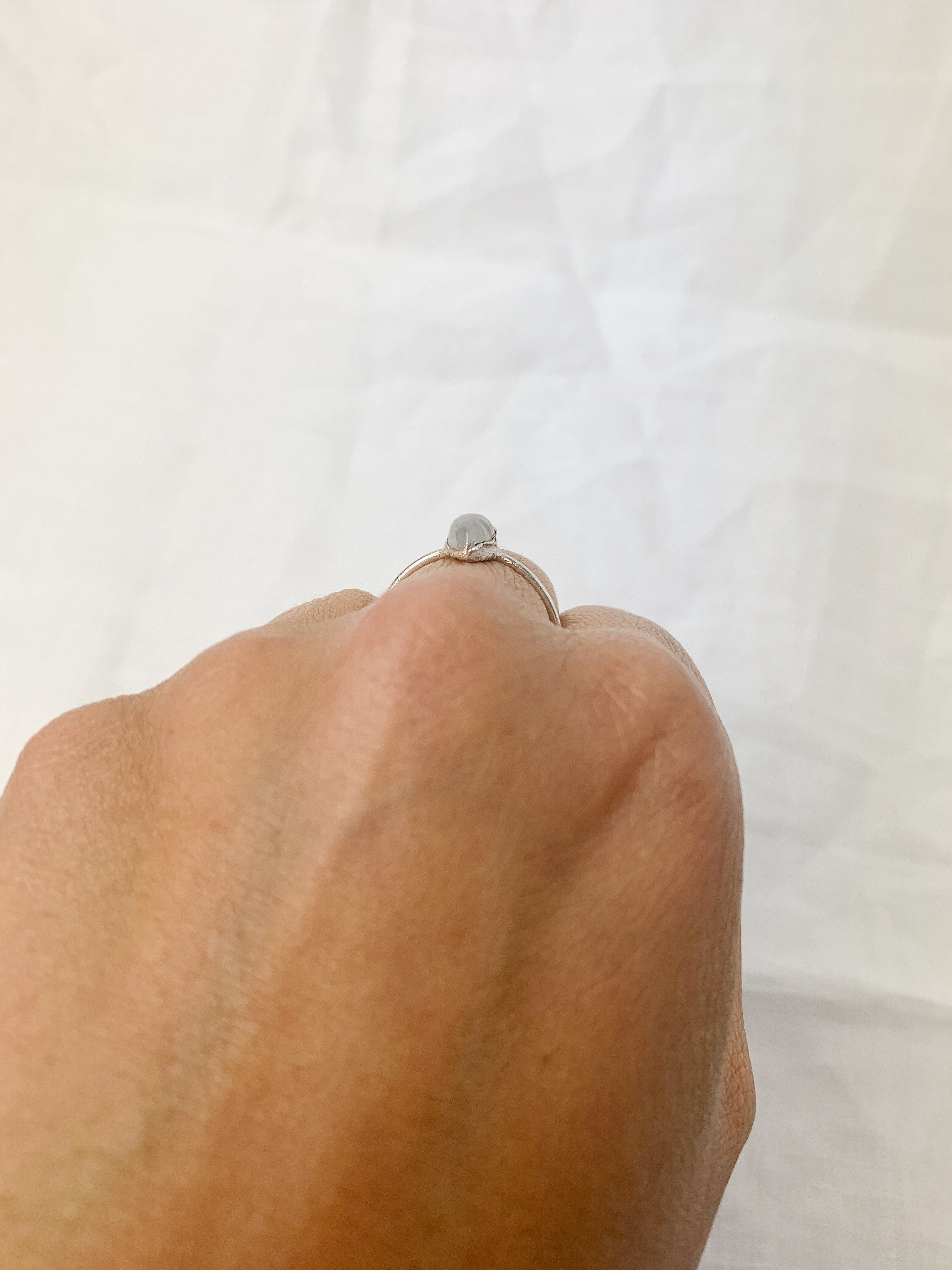 Silver Pear Moonstone Ring