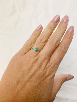 Silver Pear Turquoise Ring