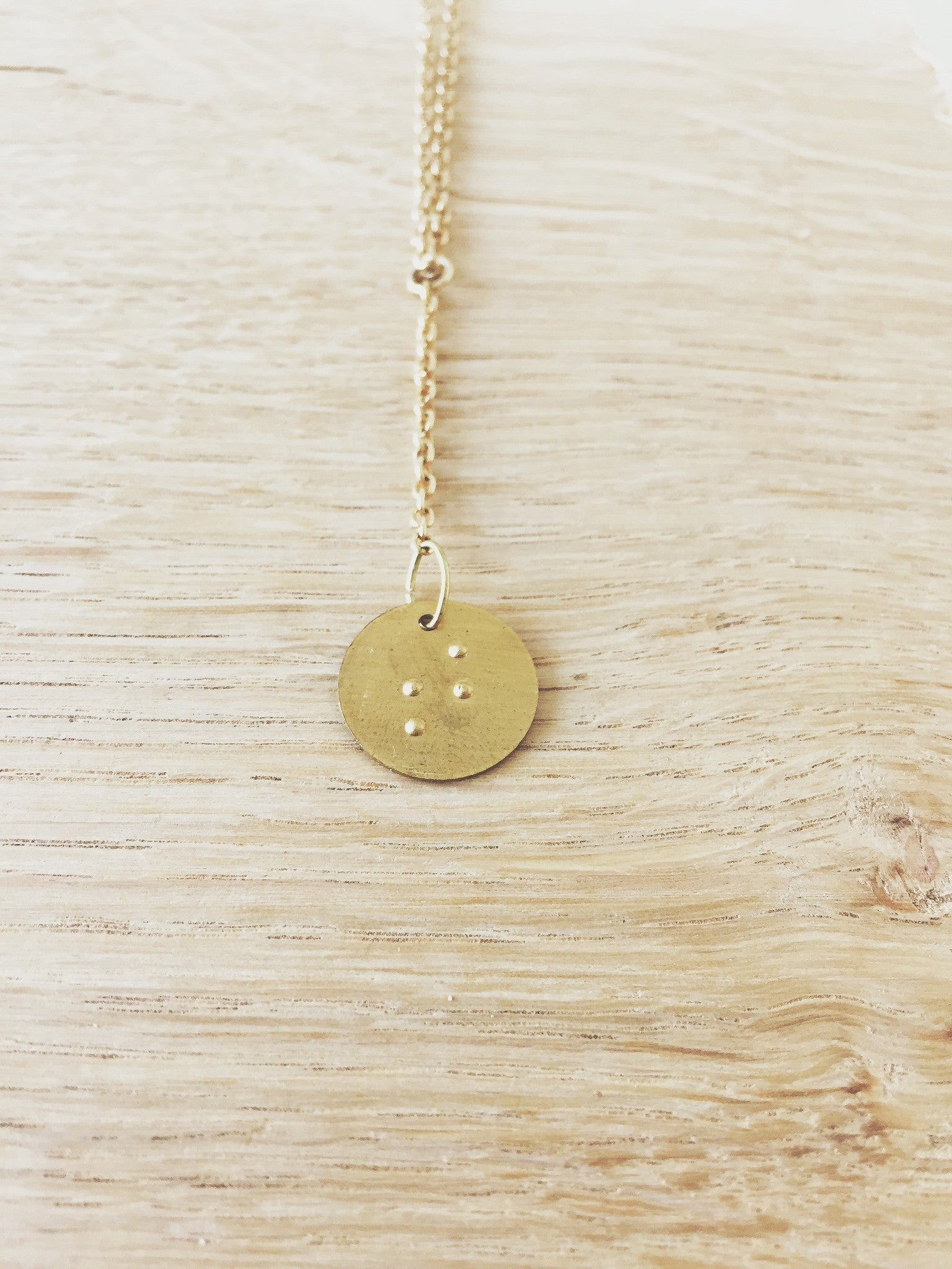 Braille Brass Necklace
