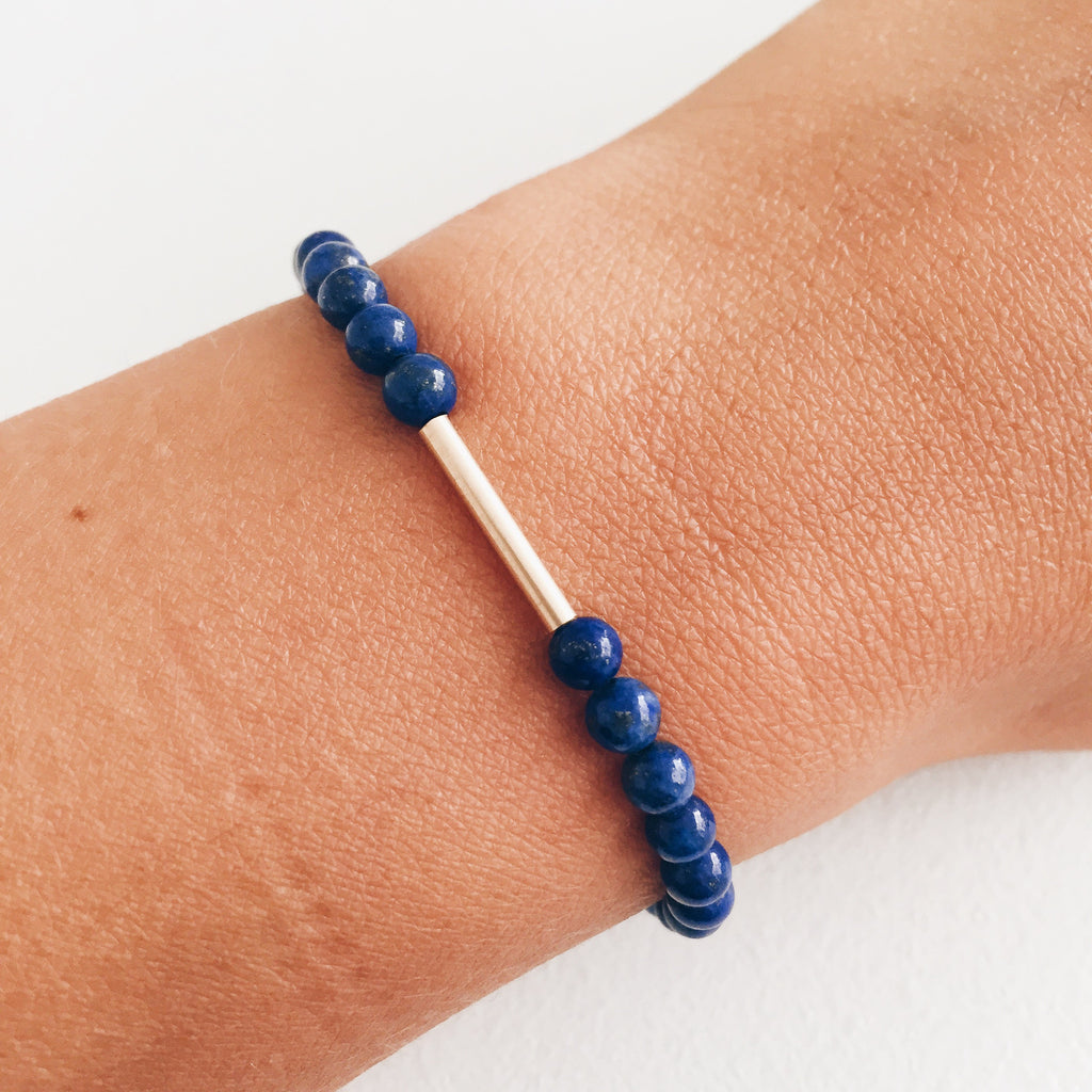 9ct Gold and Lapis Lazuli Bracelet