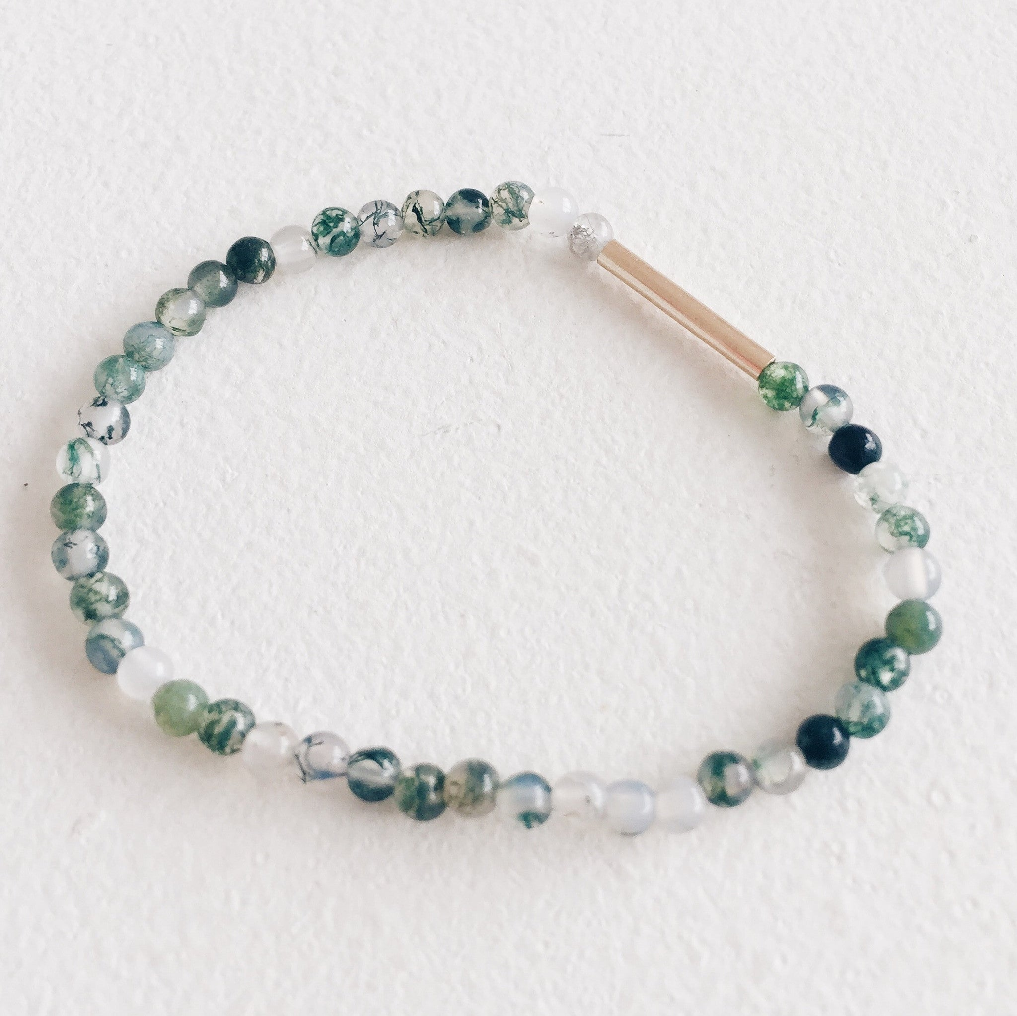 9ct Gold and Moss Agate Bracelet