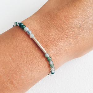 Silver and Moss Agate Bracelet