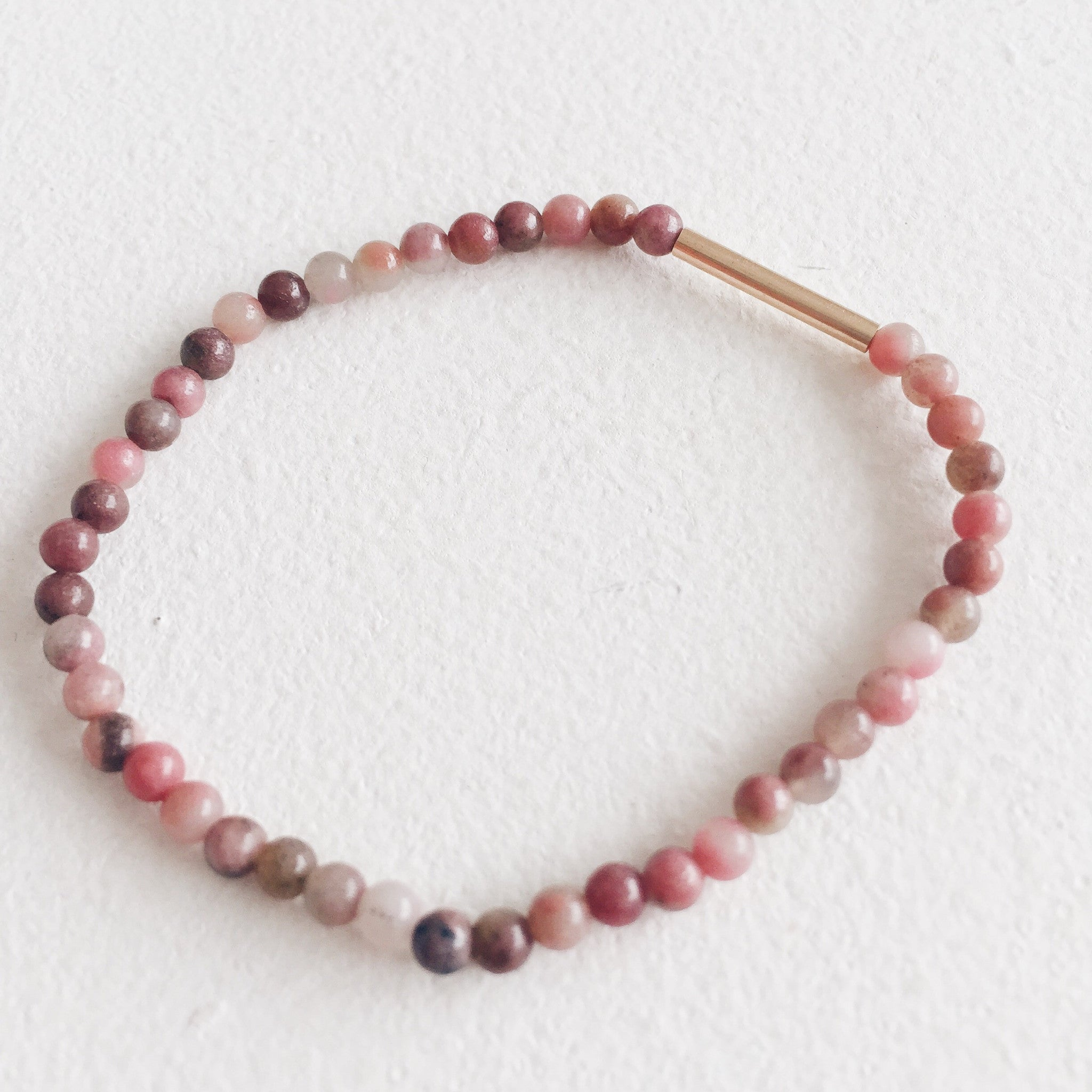 9ct Gold and Rhodonite Bracelet
