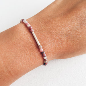 Silver and Rhodonite Bracelet