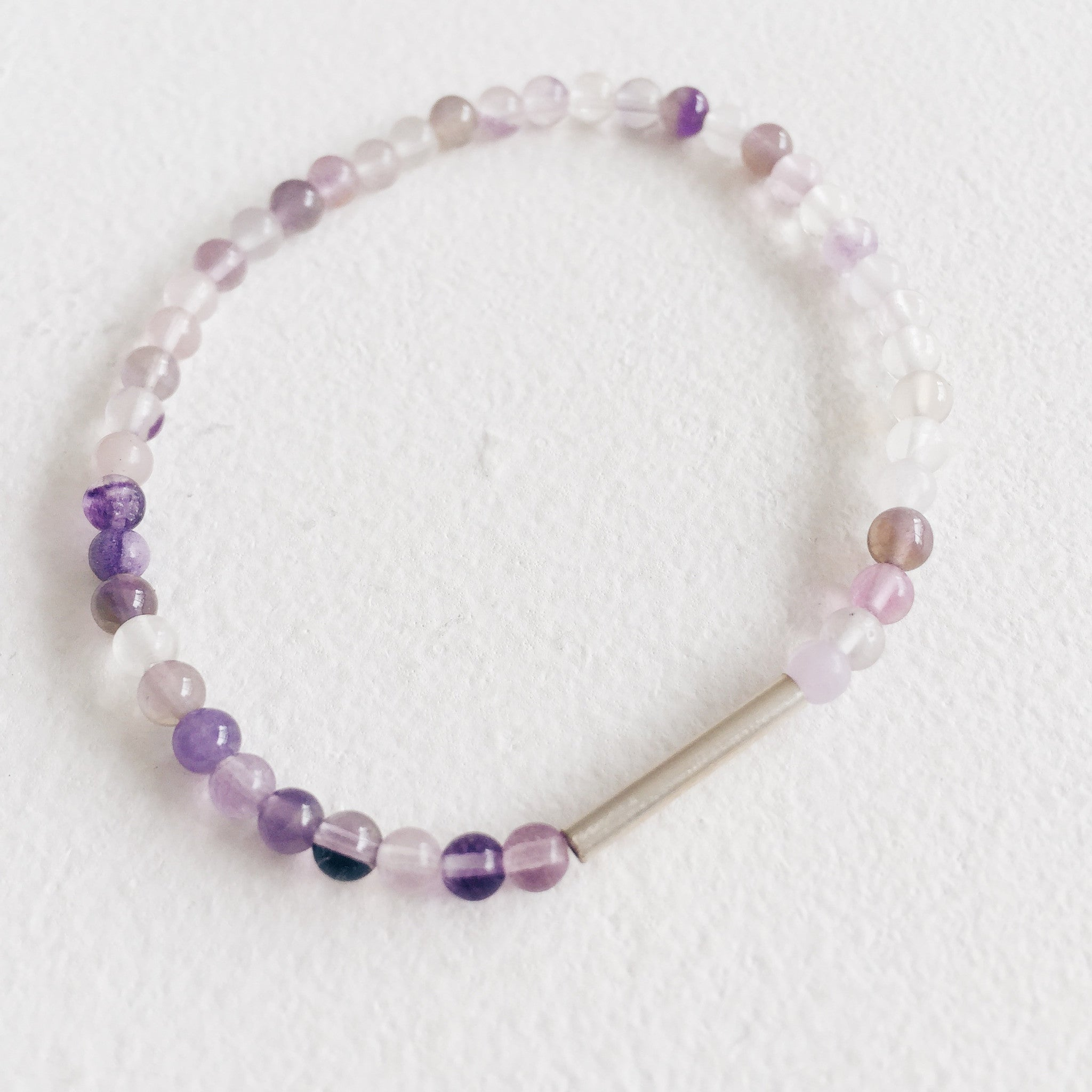 Silver and Purple Fluorite Bracelet