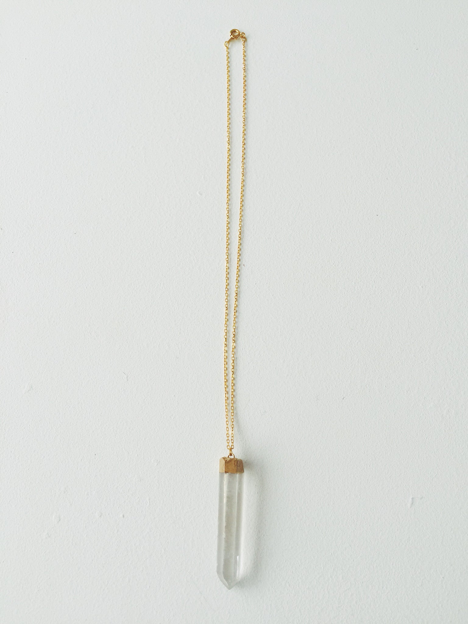 Long Gold Quartz Necklace
