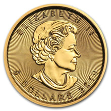 Load image into Gallery viewer, Canadian Gold Maple Leaf 1/10 oz