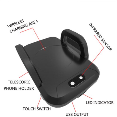 Qi Wireless Car Phone Charger Mount - Black