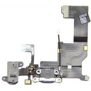 iPhone 5 Antenna, Audio Jack, Charging Port Flex Cable Replacement Part - Black