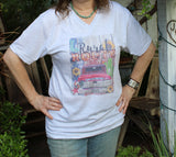 Rural Route Graphic Tee shirt with vintage red truck, sunflowers, rooster, cactus