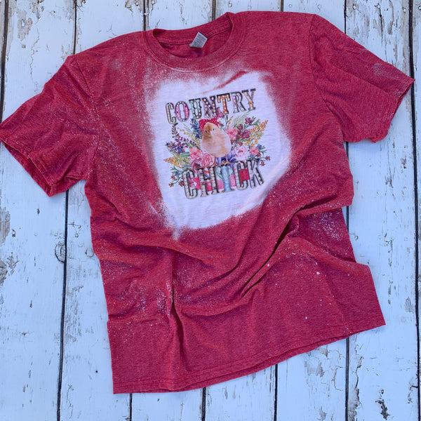 Country Chicks Red Bleached Tee Shirt with baby chick with bandanna and spring flowers