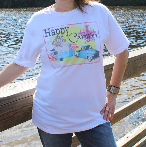 Happy Camper graphic tee shirt with turquoise vintage truck, glamper, chandelier, flowers, and crown