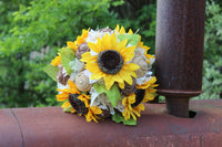 burlap bouquet with sunflowers and lace
