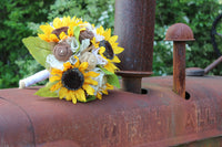 burlap and sunflower bridal bouquet for rustic farm wedding