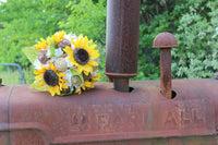 rustic sunflower and burlap wedding bouquet