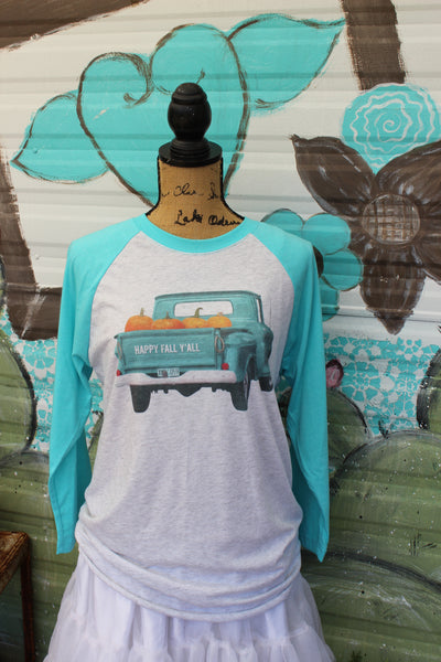 Happy Fall Y'all T shirt with turquoise truck with load of pumpkins