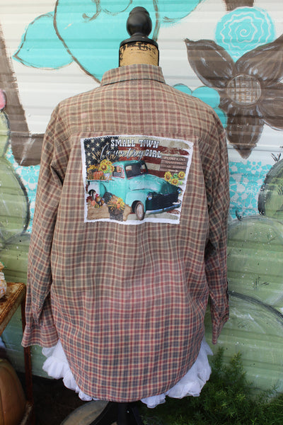 small town country girl plaid bleached shirt with fall scene