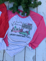 Pink and Turquoise Christmas Camper Scene Graphic Tee Shirt-Rust and Romance