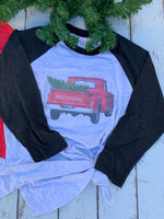 Red Truck with Christmas Tree, Merry Christmas Graphic Tee Shirt-Rust and Romance