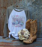 Rust and Romance Raglan Baseball T Shirt with Vintage Flower Truck