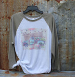 graphic tee shirt with vintage turquoise flower truck rust and romance t shirt
