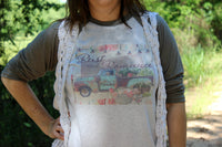 Rust and Romance Graphic Tee shirt with Rusty Turquoise Flower Truck, burlap and lace