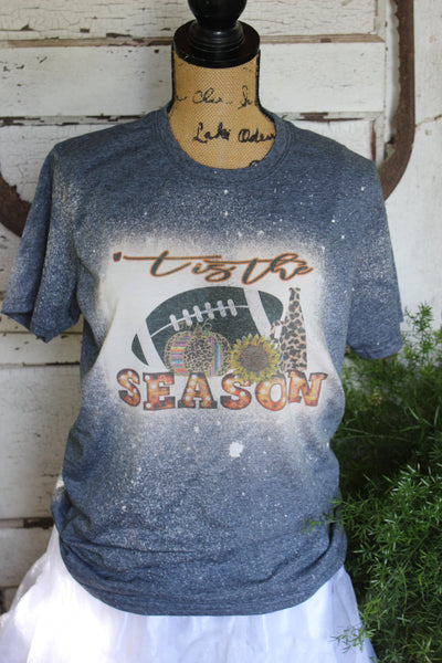 'Tis the Season Fall Football, Cheer, and Pumpkin Bleached Tee Shirt-Graphic T Shirts-Gypsy Farm Girl