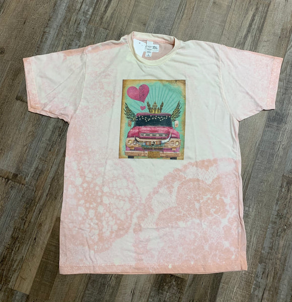Bleached tee with Pink Truck with Wings and Crown-Graphic T Shirts-Gypsy Farm Girl