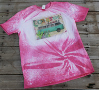 Adventure Awaits Bleached T Shirt with Vintage Bus and Cactus